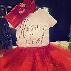 Other - Heaven Sent onesie, tutu, headband size 0-12 mths